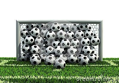 Goal full of balls on the football field