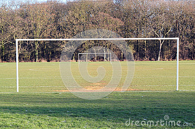 Goal posts on a soccer pitch.