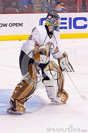 Goalie Devan Dubnyk of the Edmonton Oilers Editorial Image