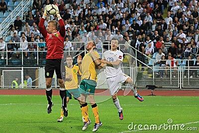 Goalkeeper s saving Editorial Image