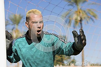 Goalkeeper Screaming For Corner Shot