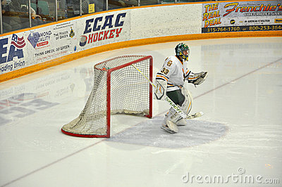 Goalkeeper warmup in NCAA Hockey Game Editorial Image