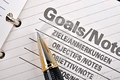 Goals page in notebook