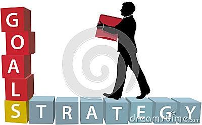 GOALS STRATEGY man builds business blocks