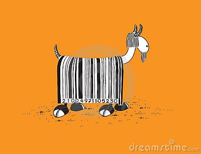 Goat with Barcode Hair