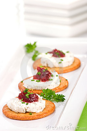 Free Goat Cheese Canapes Stock Photo - 4196970