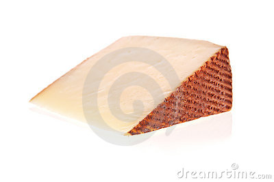 Goat cheese slice isolated on white