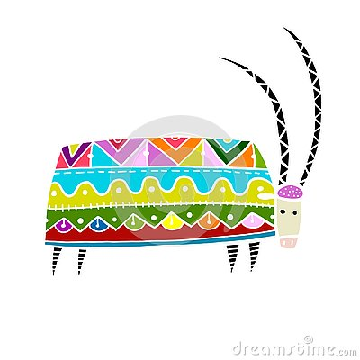 Free Goat Ornate, Simple Sketch For Your Design Royalty Free Stock Photo - 144927175