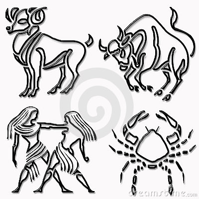 Goat, taurus, twins and cancer horoscope symbols