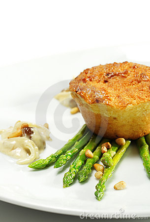 Goats Cheese Cake with Fresh Green Asparagus