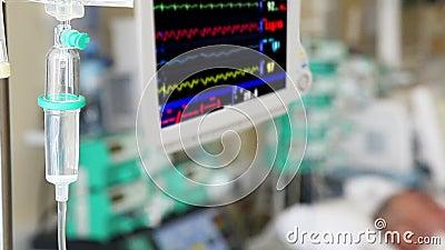 Gocciolamento IV con il monitor in ICU stock footage