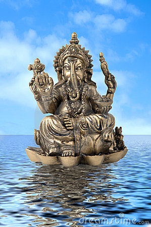 God Ganesha on water