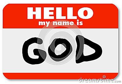 God Nametag Welcome to Religious Faith