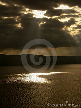 Gods rays and boats on the sea