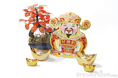 God of Wealth with Gold Ingots