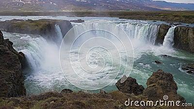 Godafoss Waterfall in Summer Day IJsland stock footage