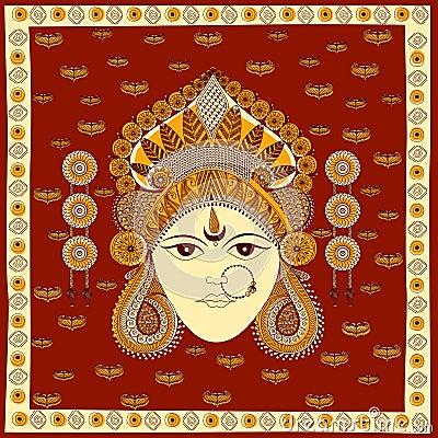 Goddess Durga for Happy Dussehra Vector Illustration