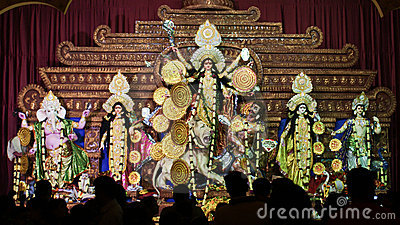 Goddess Durga idol during Durga Puja in India Editorial Image