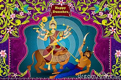 Goddess Durga killing demon Mahishasura for Happy Vijayadashami Dussehra Vector Illustration