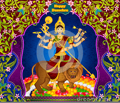 Goddess Durga killing demon Mahishasura for Happy Vijayadashami Dussehra Vector Illustration