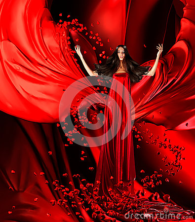 Free Goddess Of Love In Red Dress With Magnificent Hair And Hearts On Stock Photography - 36861222