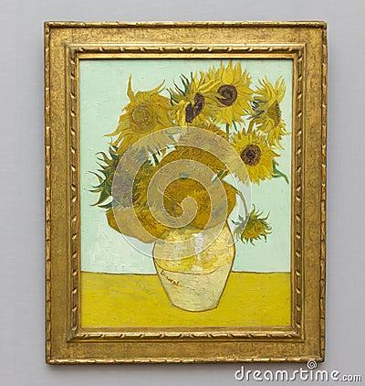 Gogh向日葵有篷货车 编辑类库存照片