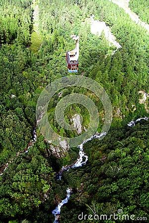 Lift in Chamonix mountains
