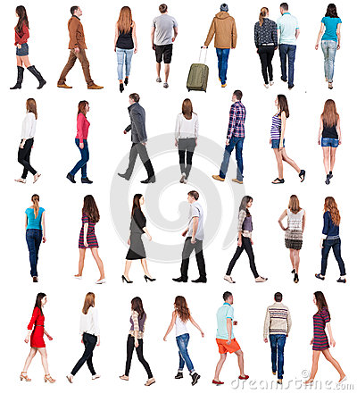 Free Going People In Motion Set. Royalty Free Stock Photo - 48881045