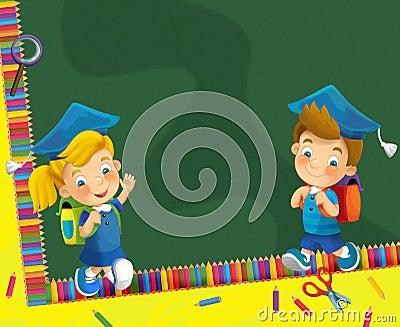 Going to school - illustration for the children