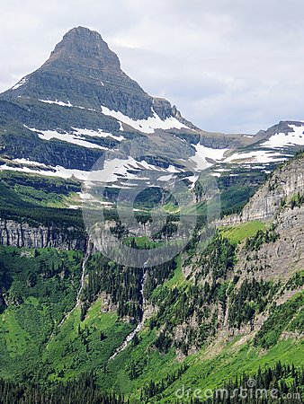 Free Going To The Sun Road, View Of Landscape, Snow Fields In Glacier National Park Around Logan Pass, Hidden Lake, Highline Trail, Whi Royalty Free Stock Photography - 99589907