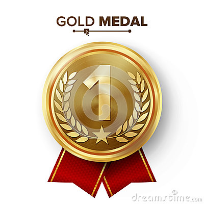 Free Gold 1st Place Medal Vector. Metal Realistic Badge With First Placement Achievement. Round Label With Red Ribbon, Laurel Wreath, S Stock Photos - 94865933