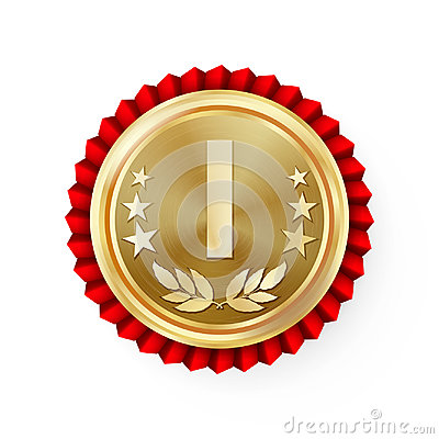 Free Gold 1st Place Rosette, Badge, Medal Vector. Realistic Achievement With Best First Placement. Round Championship Label With Red Ro Royalty Free Stock Photography - 94869937