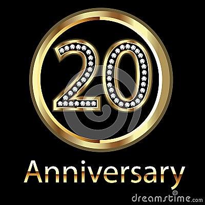 Gold 20th anniversary birthday