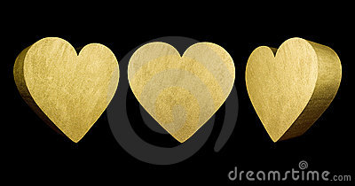Gold 3D love hearts