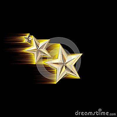 Gold 3D Shooting Stars