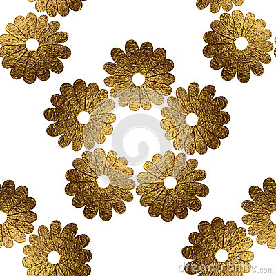 Gold abstract flowers pattern. Hand painted floral seamless background. Stock Photo