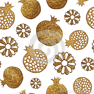 Gold abstract pomegranate and flowers pattern. Hand painted seamless background. Cartoon Illustration