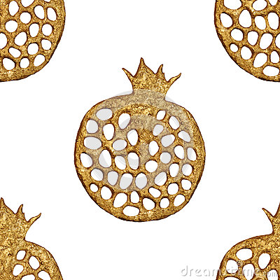 Gold abstract pomegranate pattern. Hand painted seamless background. Summer fruit illustration. Cartoon Illustration