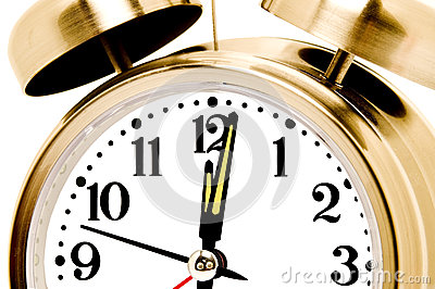 Gold Alarm Clock Close Up Isolated On White