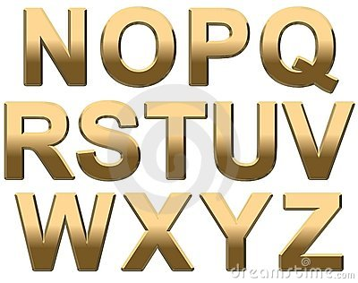 Gold Alphabet Letters Uppercase N Z On White Royalty Free