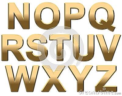 Gold Alphabet Letters Uppercase N-Z On White