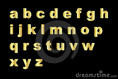 Gold alphabet - lowercase