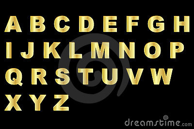 Gold alphabet - uppercase