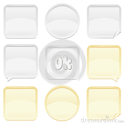 Free Gold And Silver Button And Sticker Set Royalty Free Stock Image - 25043976