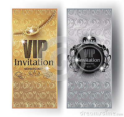 Free Gold And Silver VIP Invitation Cards With Floral Design Background, Crowns And Vintage Frames. Stock Image - 85591541