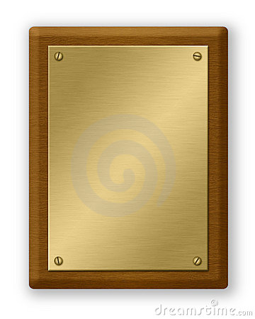 Free Gold And Wood Plaque Stock Photography - 21062012