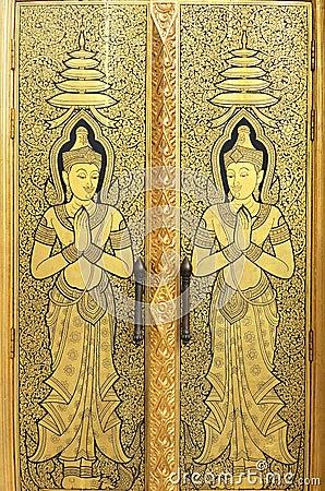 Free Gold Angel Door Of Wattraimitr Temple Royalty Free Stock Photography - 22163027
