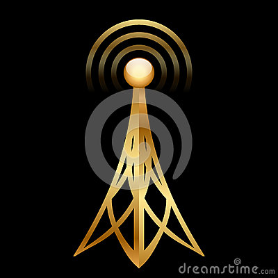 Gold antenna icon