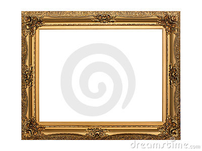 Gold antique frame isolated with clipping path