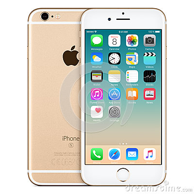Free Gold Apple IPhone 6s Front View With IOS 9 On The Screen Royalty Free Stock Photography - 65405367